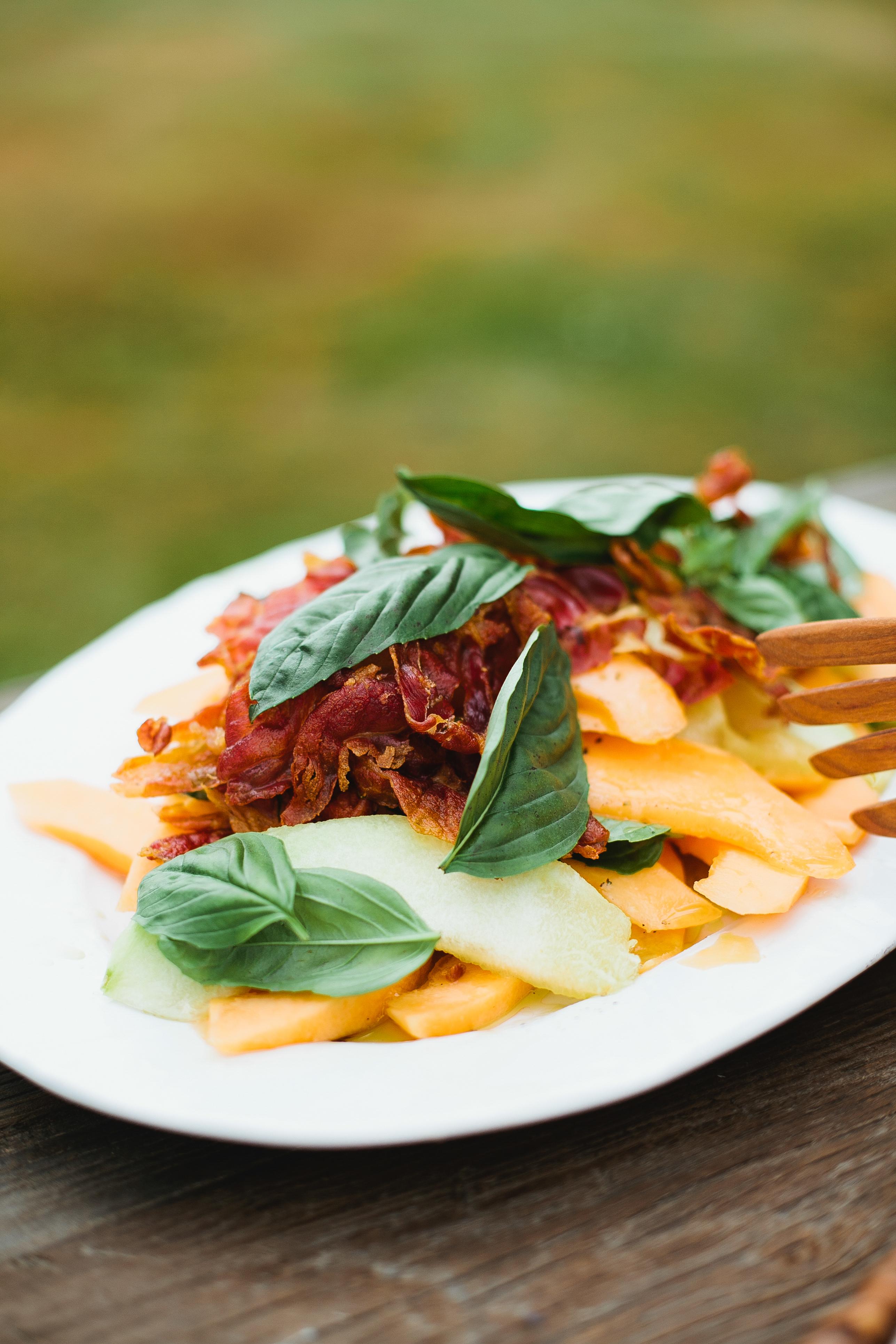 Melon Salad with Basil Vinaigrette and Crispy Prosciutto // Not WIthout Salt